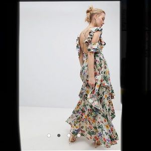 Floral Print Satin Ruffle Sleeve Maxi Dress